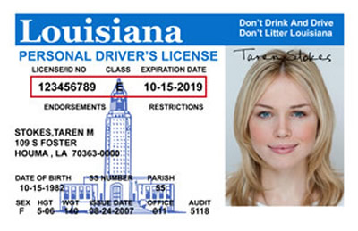 Image of Louisiana's Driver's License