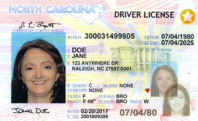 Image of North Carolina's Driver's License