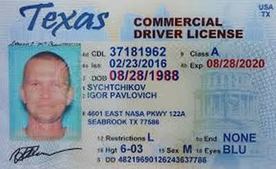 Image of Texas's Driver's License
