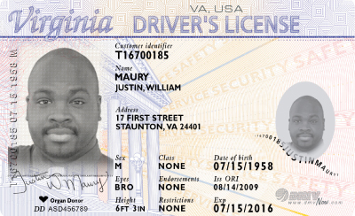 Image of Virginia's Driver's License