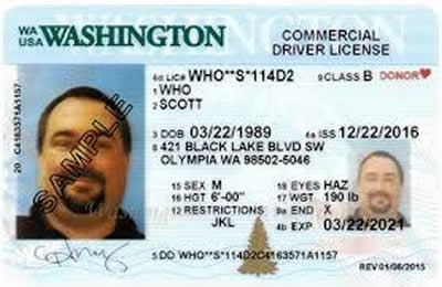 Image of Washington's Driver's License