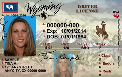 Image of Wyoming's Driver's License